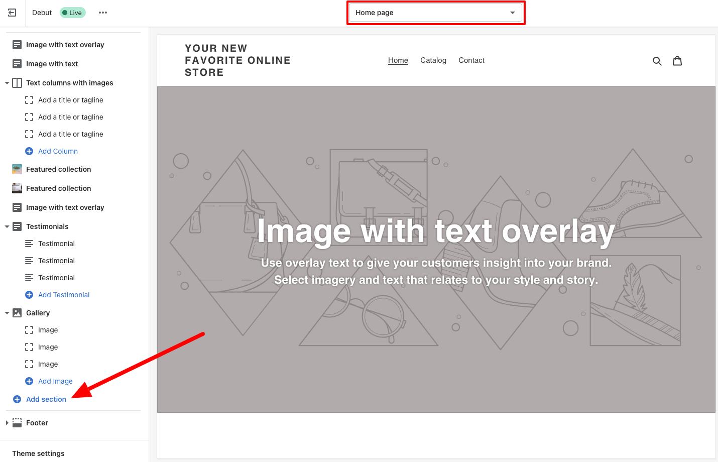 shopify debut theme editor homepage