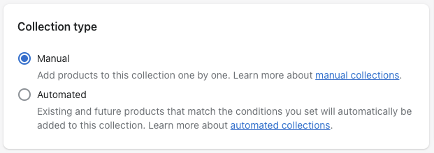 shopify collection types manual automated