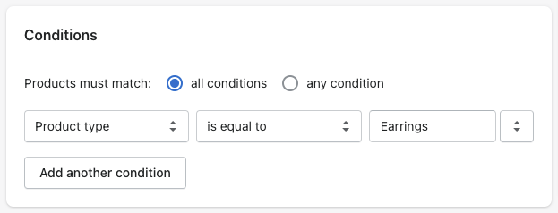 shopify automated collection conditions product type