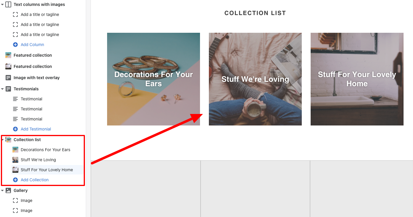 debut theme editor shopify collection list added