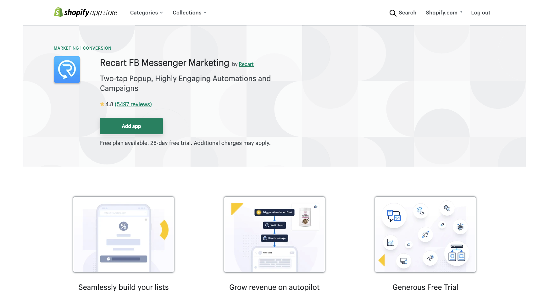recart fb messenger marketing best shopify apps