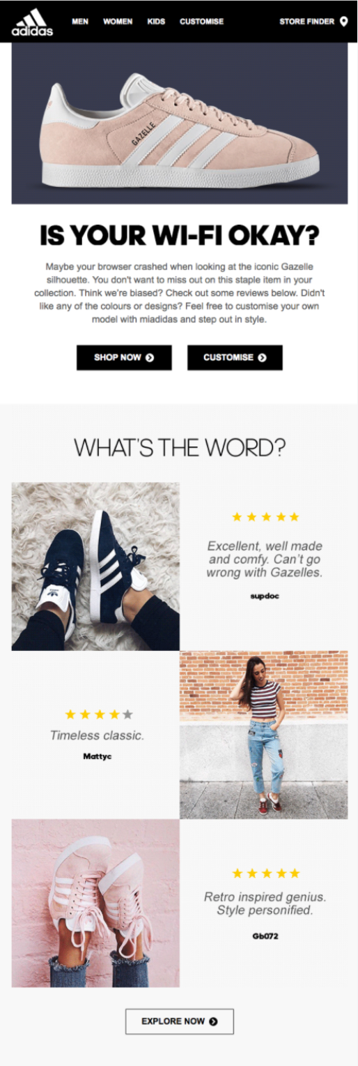 adidas abandoned cart email user generated content