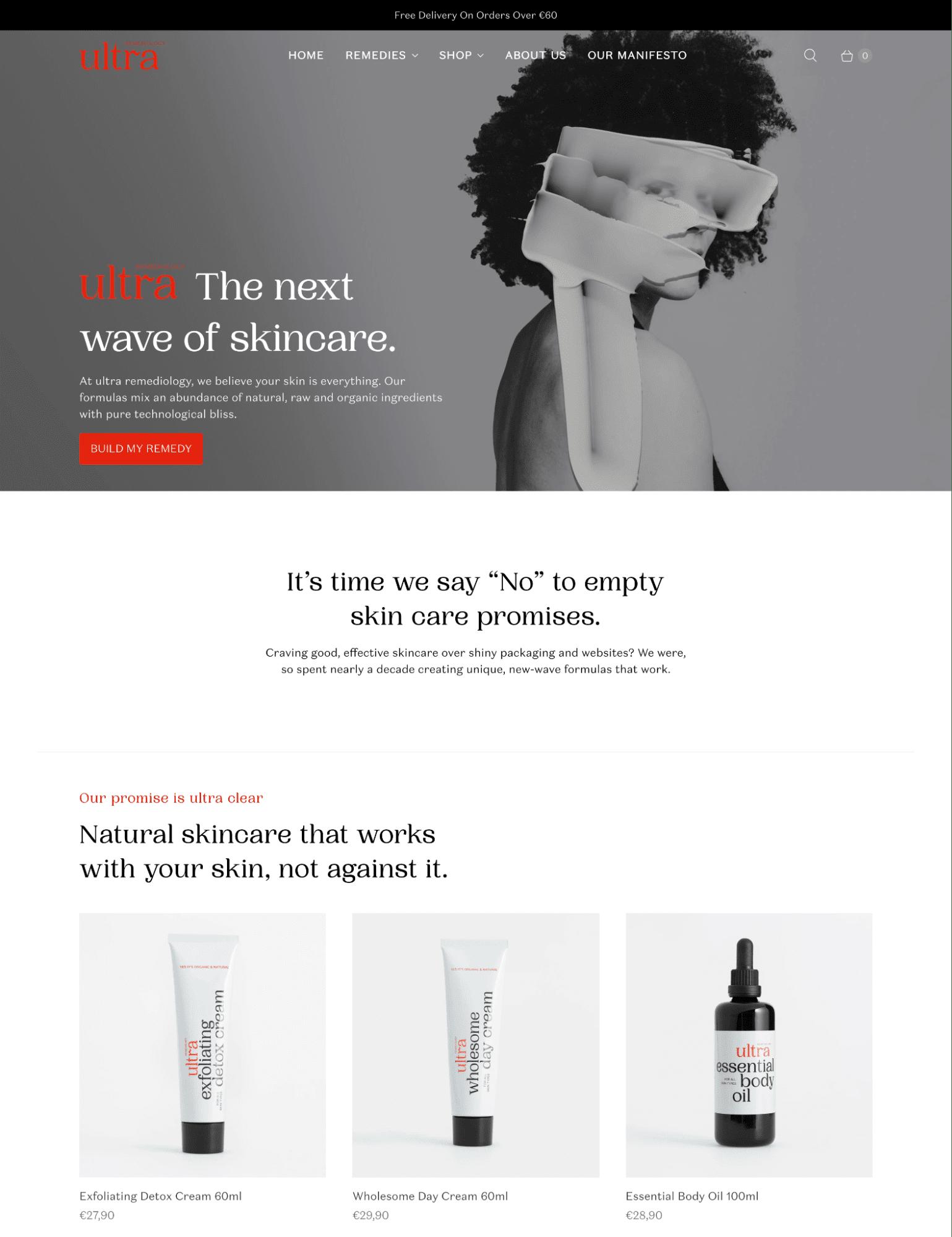 retina shopify theme skincare brands