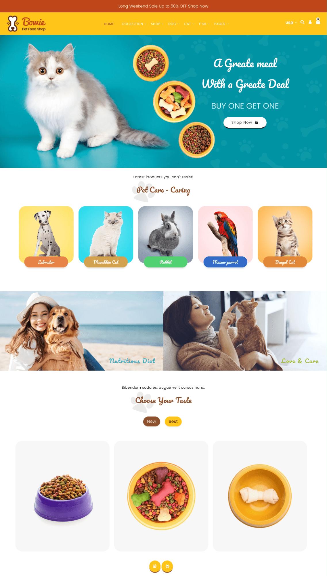 bowie shopify themes pet brands