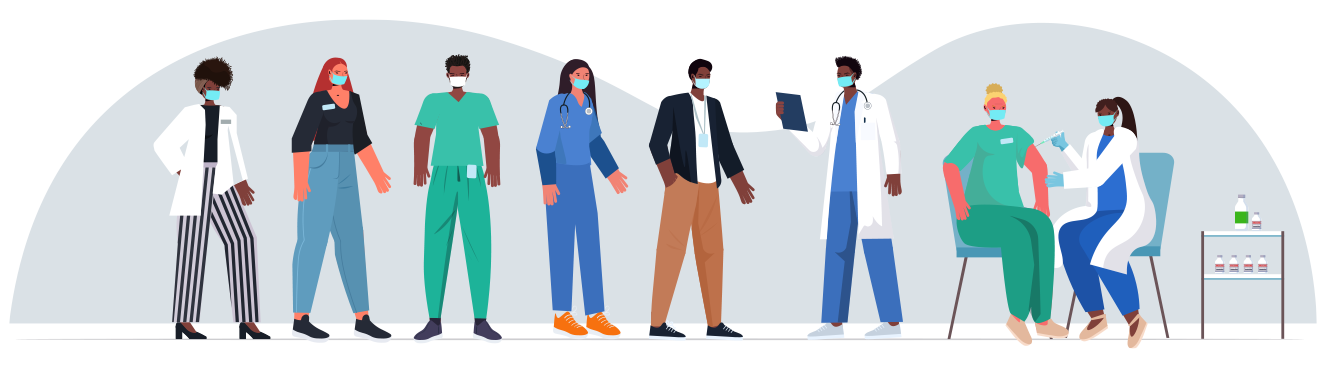Illustration of a line of healthcare providers waiting to get the covid vaccine.