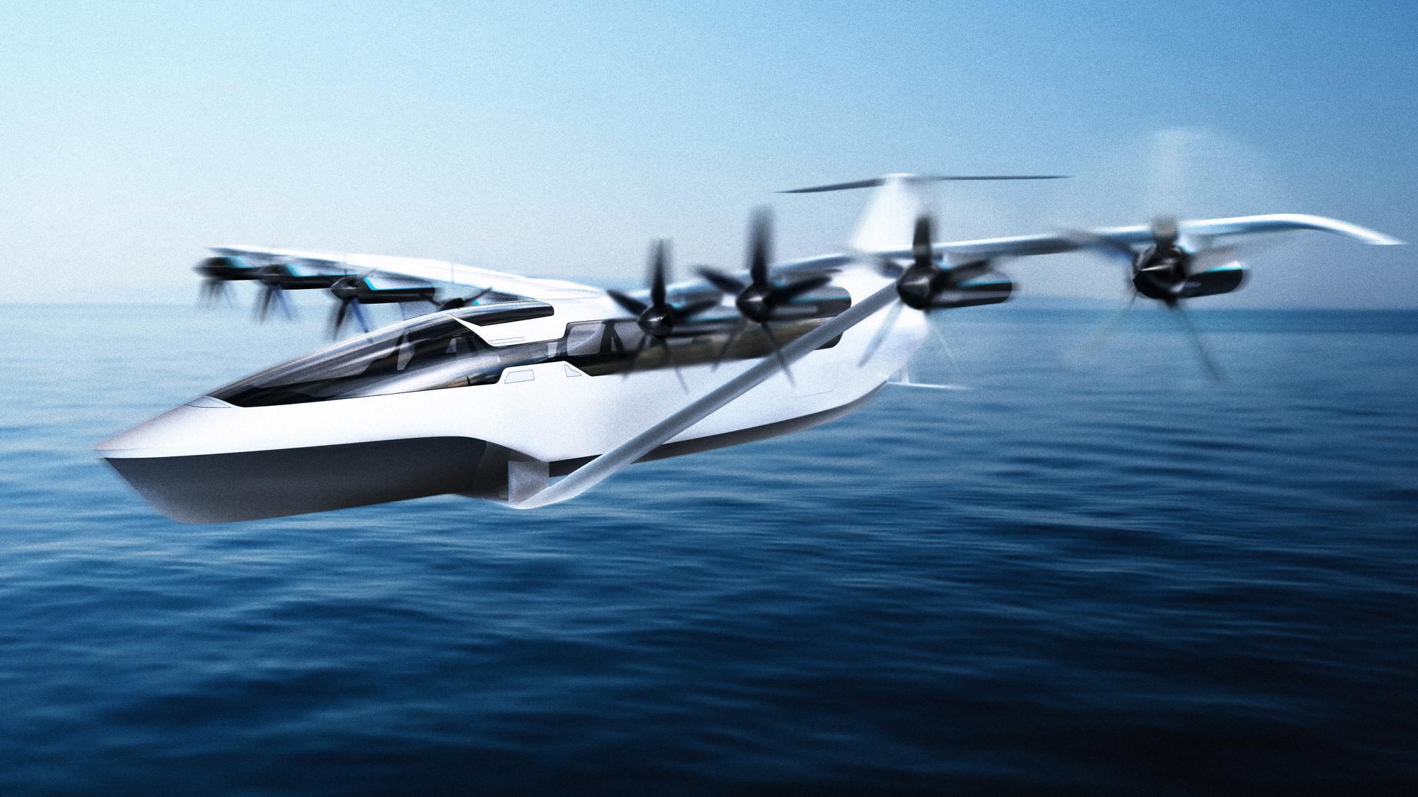 Regent Seaglider fliying over water
