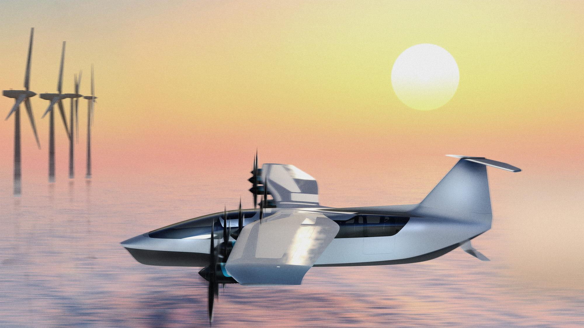 Regent Seaglider fliying over water during sunset