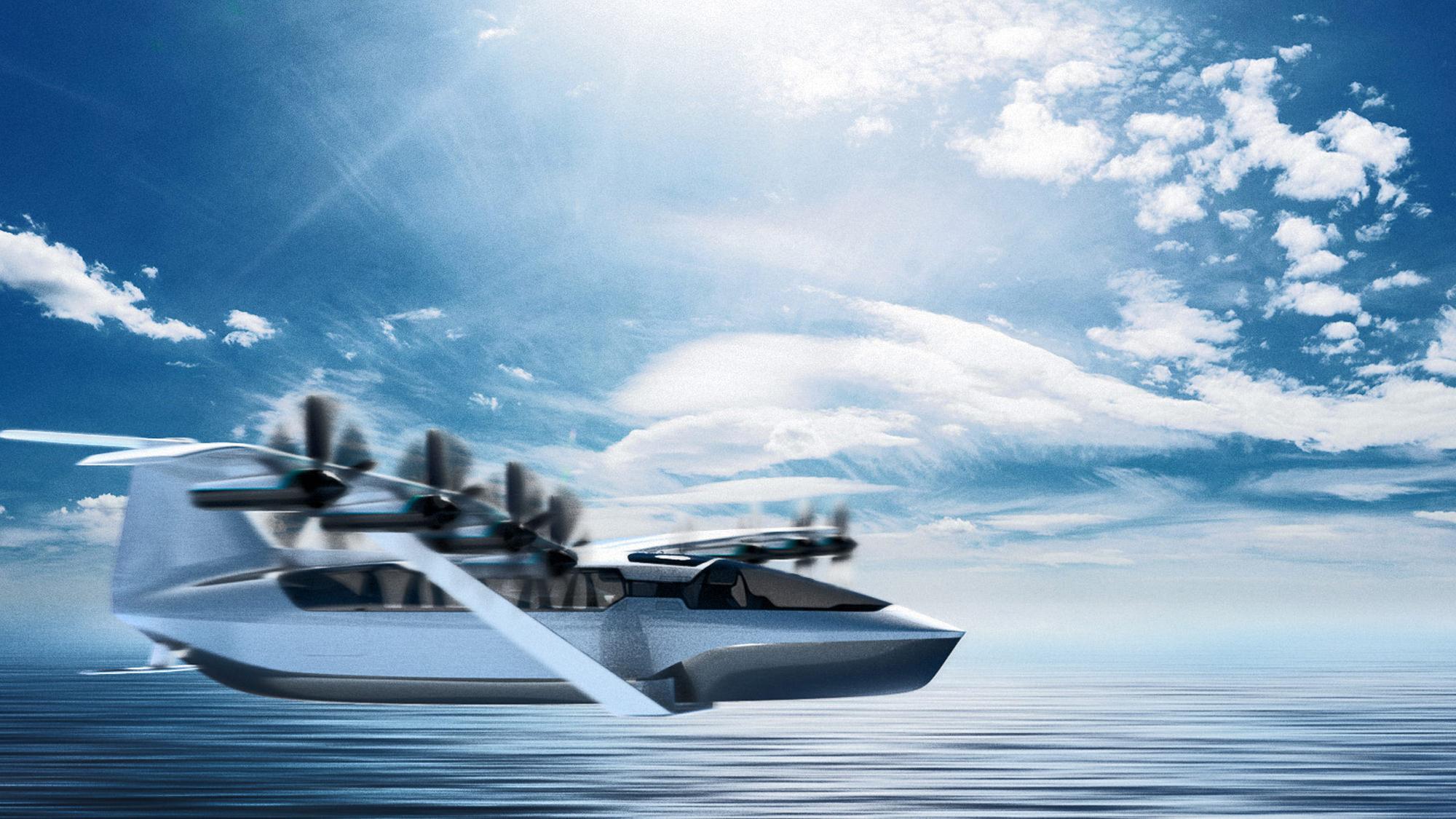 Regent Seaglider flying over water