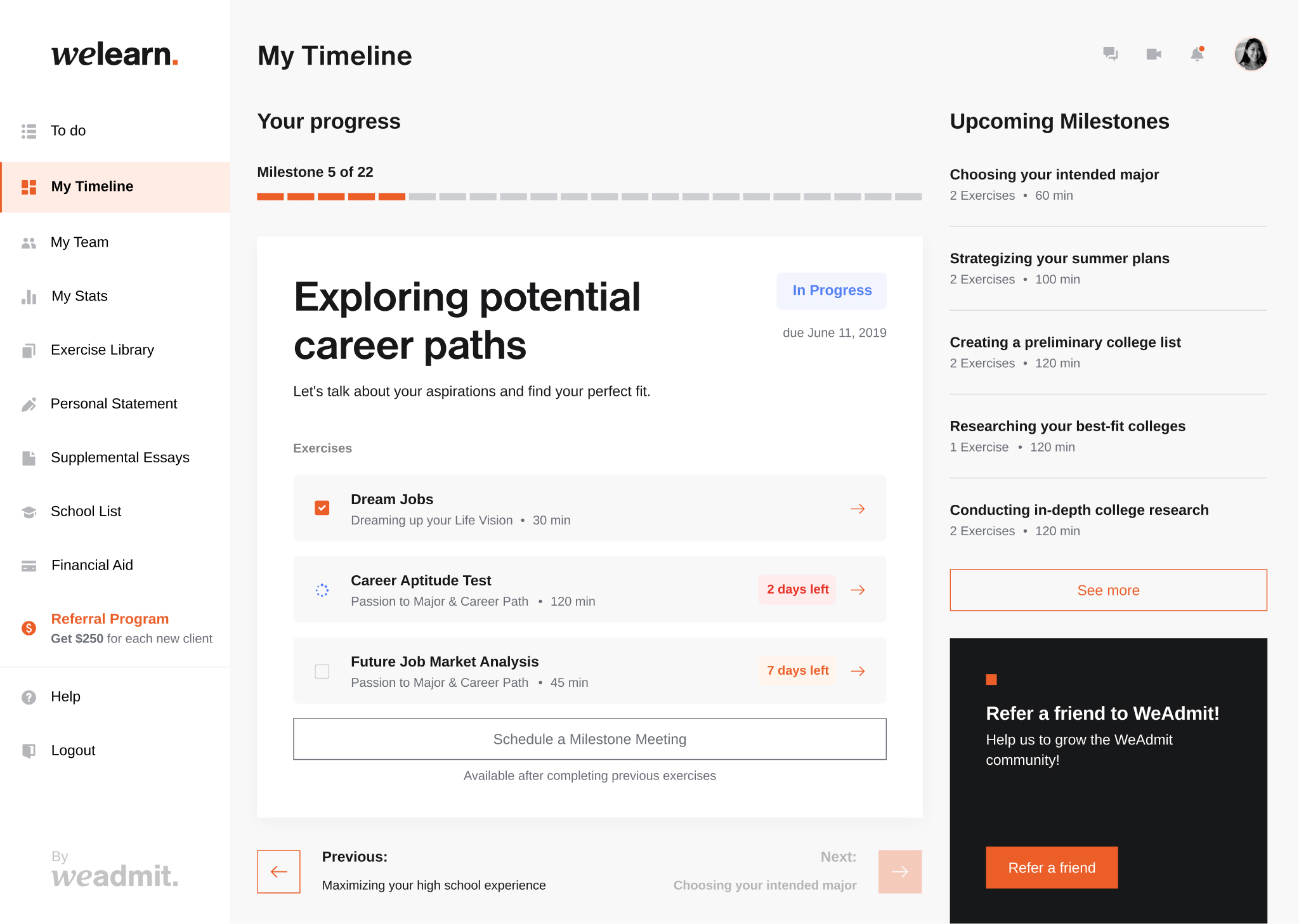 dashboard to potential career paths post college with exercises on choosing the right job after college