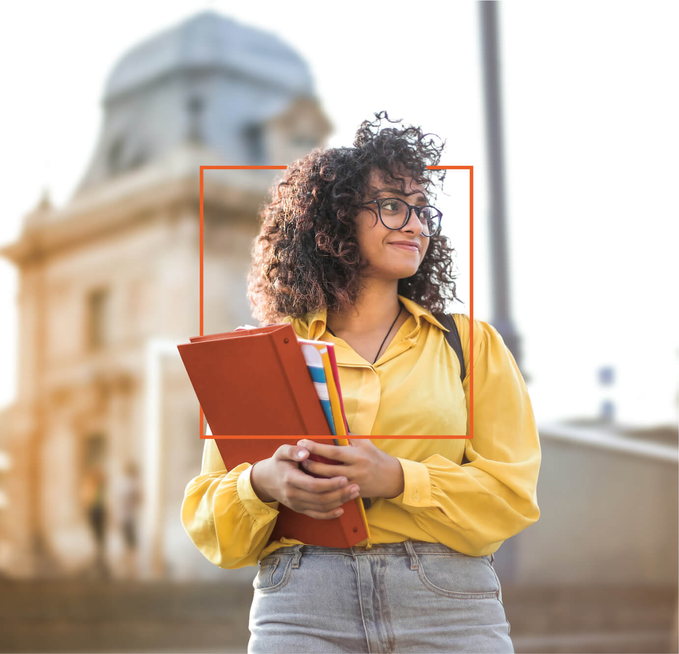 bright-eyed college student touring college campuses during college admissions process