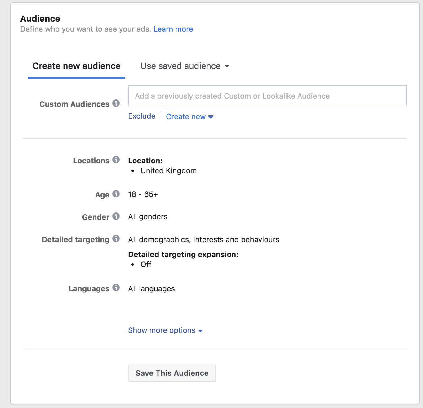Facebook audience selection