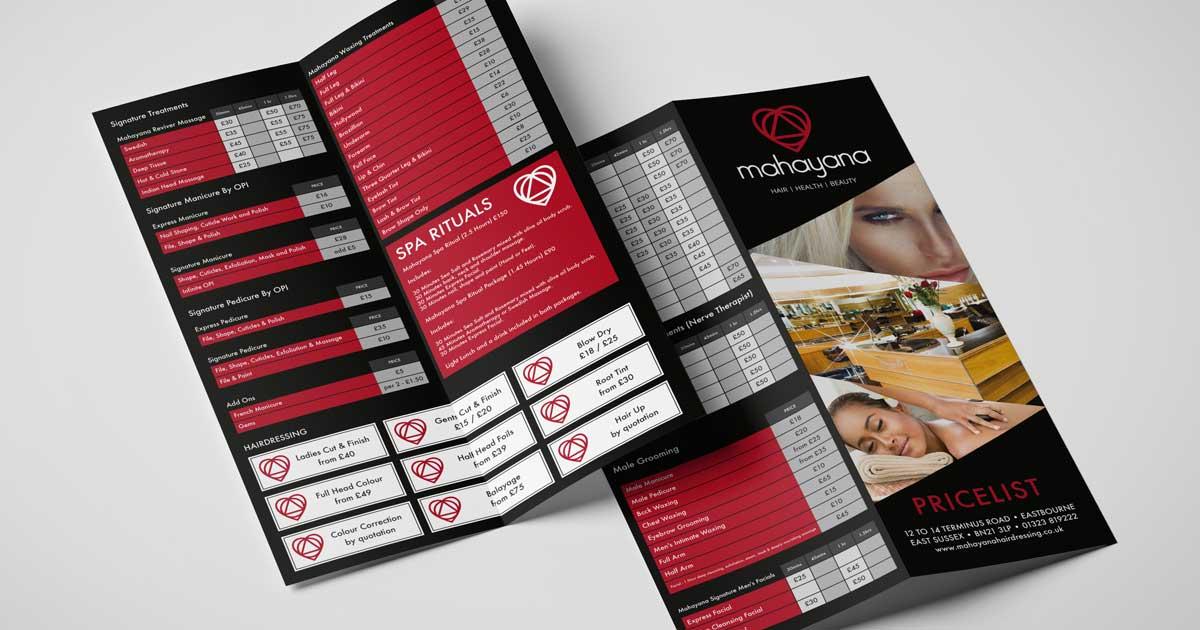spa price list folded leaflet