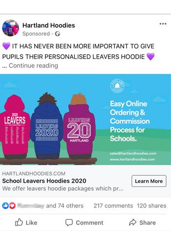 Hartland Hoodies ad