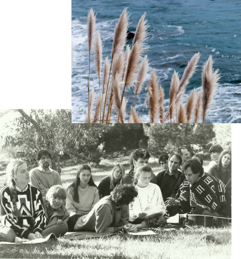 A collage made of two photographs: one photo of light brown plants with the blue ocean in the background, and the other a black and white photo of a group of people sitting together on a lawn.