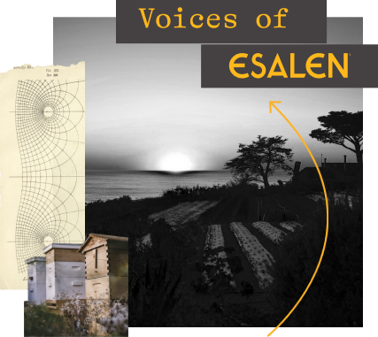"A collage of images. The words ""VOICES OF ESALEN"" appear in yellow over a black and white photograph of a farm. Along the left edge of the image, there is a geometric design with black lines on a cream background;"