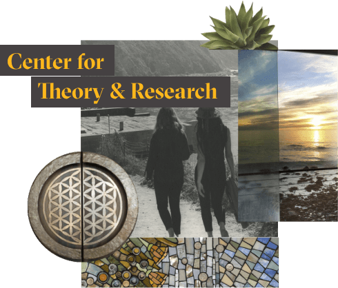 "The words ""Center for Theory and Research"" in yellow over a collage of photographs showing parts of the Esalen campus."