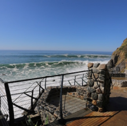 One of four large, communal tubs at the Esalen hot springs.