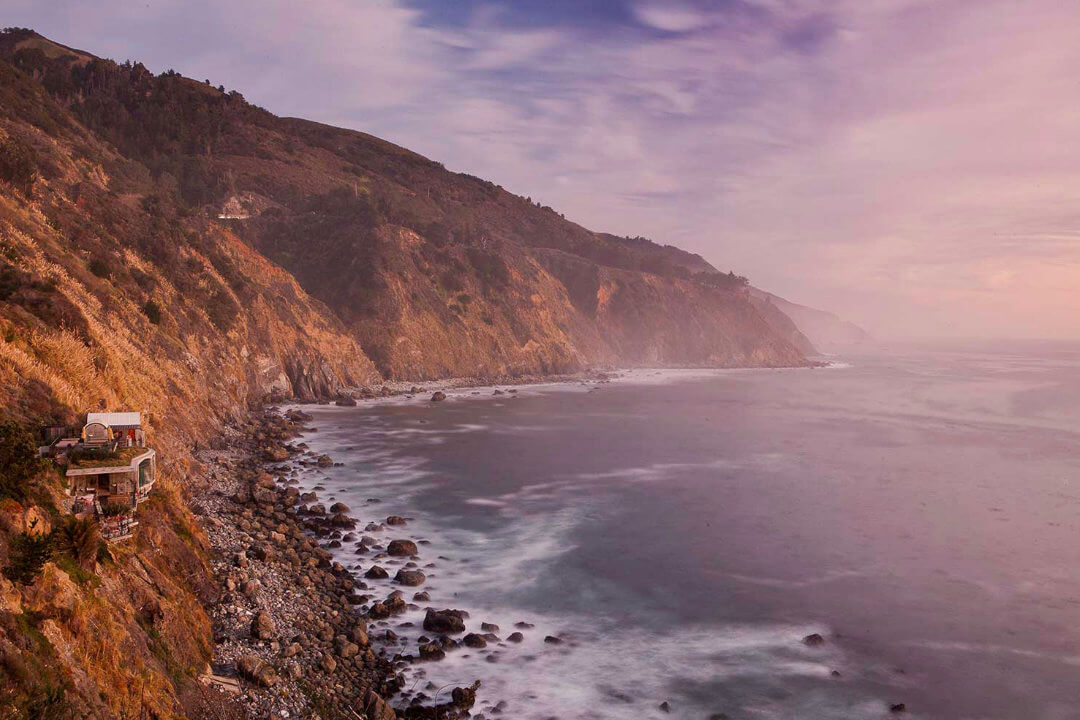 a beautiful sunset photo of big sur