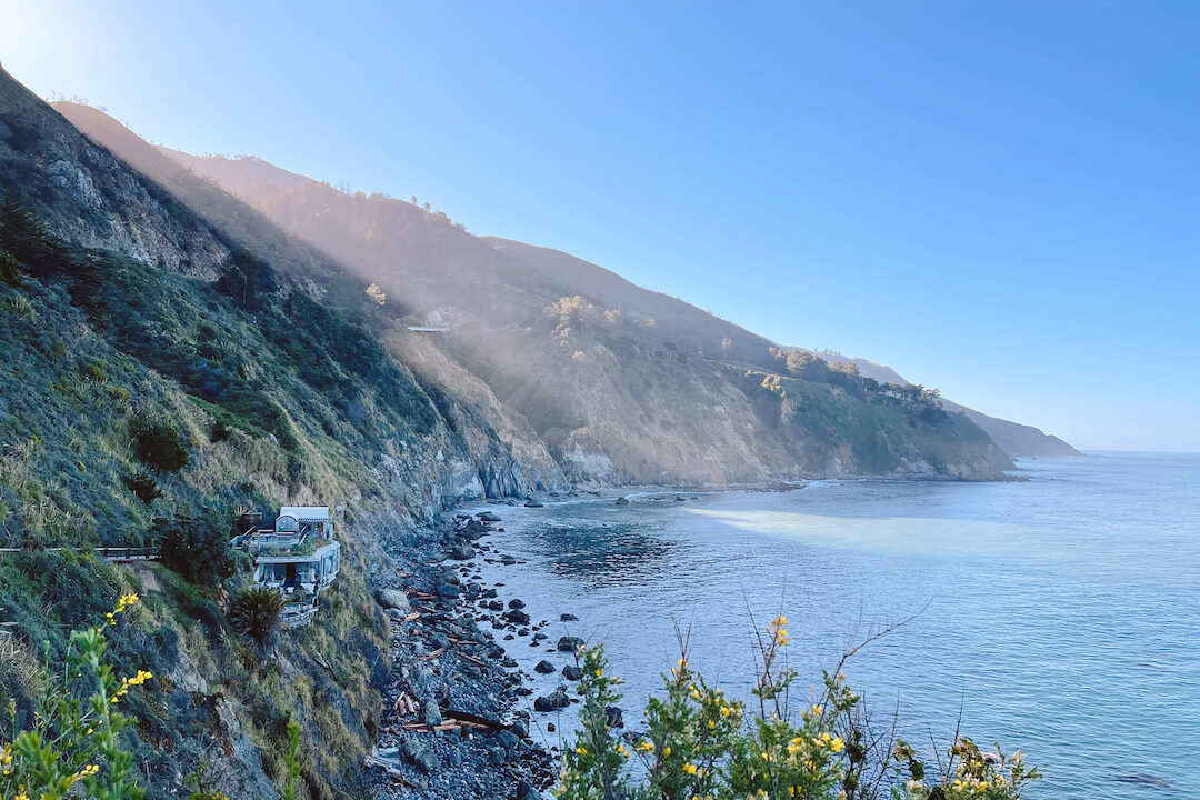 Esalen's hot springs, aka the Baths, are perched on a cliff overlooking the Pacific Ocean.