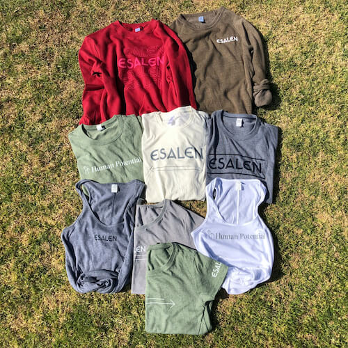 Esalen Summer Capsule Collection of new tees, tanks, and sweatshirts with Esalen logo