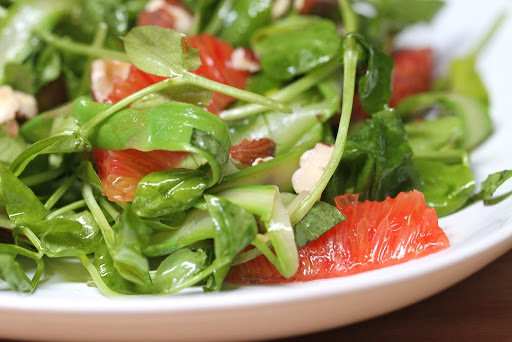 Pea Shoot, Asparagus, and Blood Orange Salad