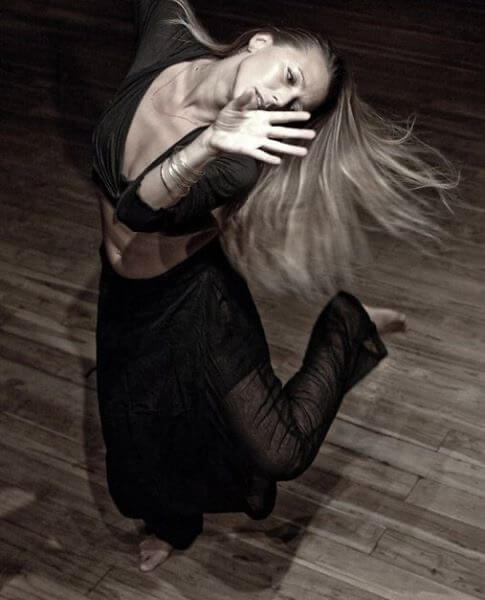 Lucia Horan captured mid-dance in black and white