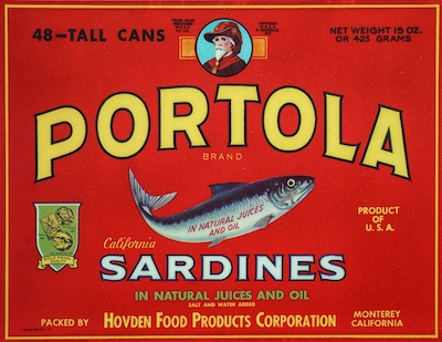 Label from the Portola brand sardine can