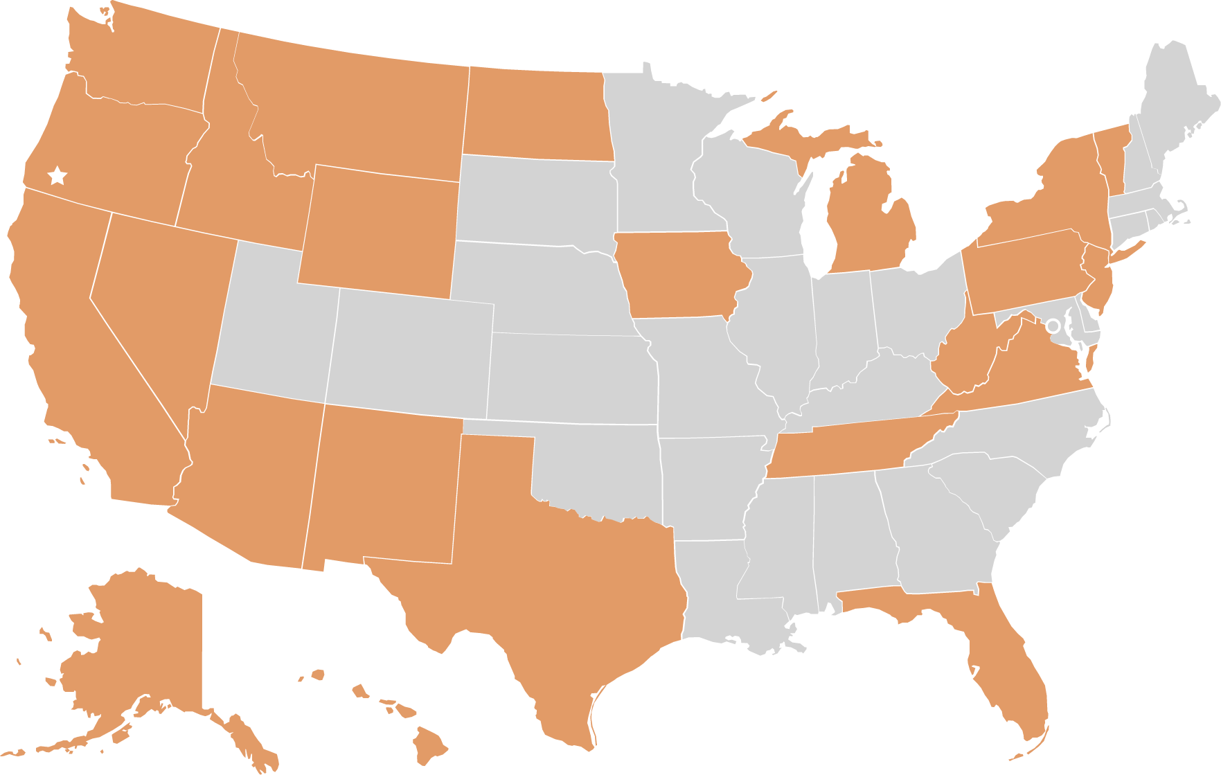 Map showing nationwide locations