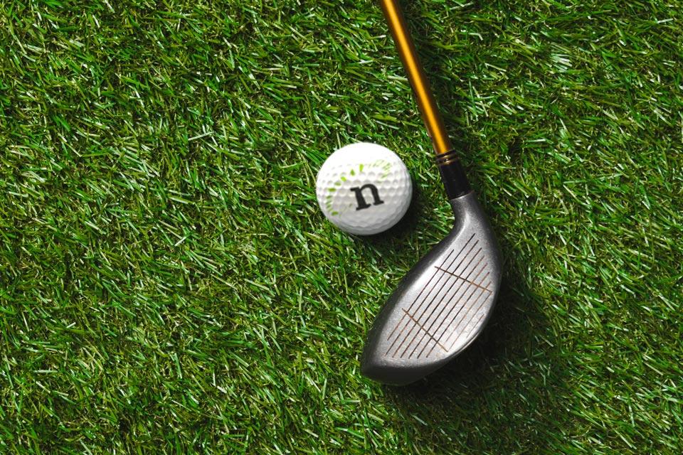 Nexsys-branded golf ball on grass next to golf club