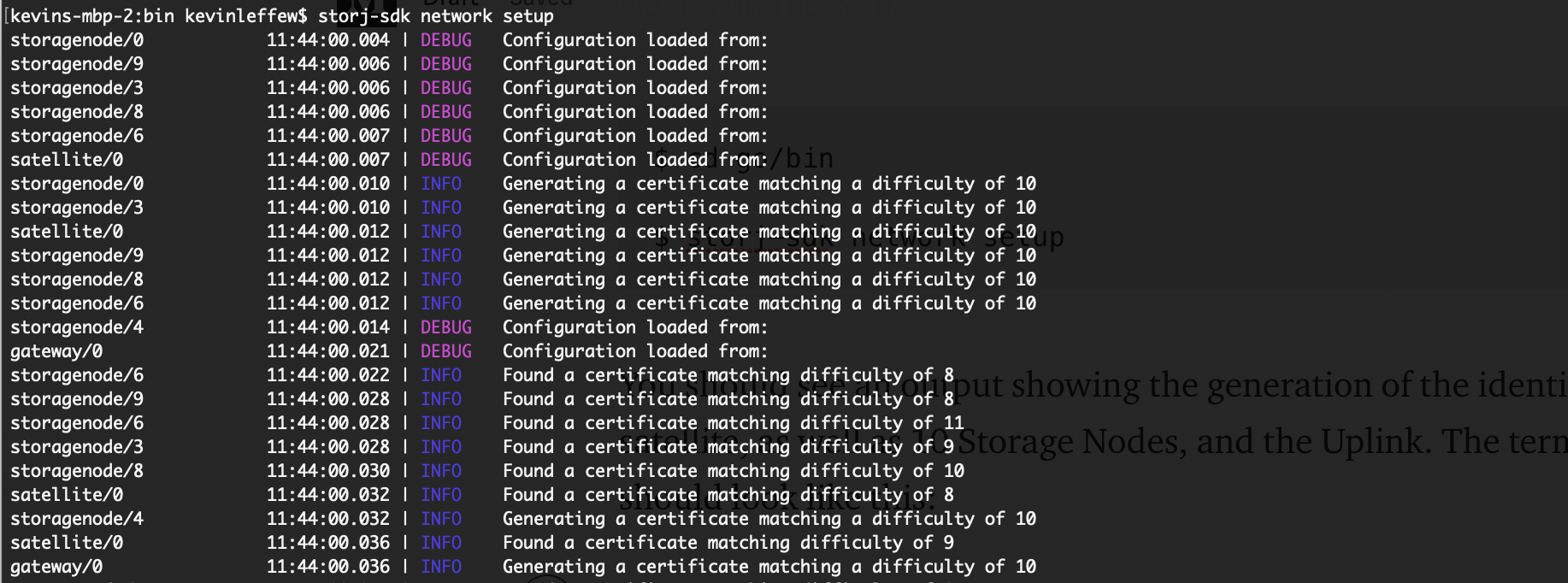 As shown above, the config is generate certificates for the storage nodes. The public key of the node's certificate authority determines its node ID (which is the hash of the public key and acts as a proof-of-work threshold).
