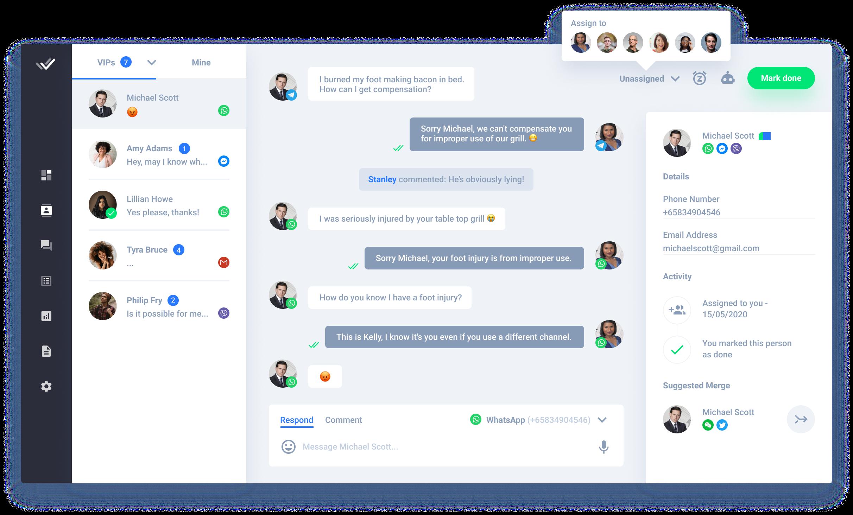 Respond.io bandeja de entrada de mensajería para múltiples usuarios, interfaz de usuario UI