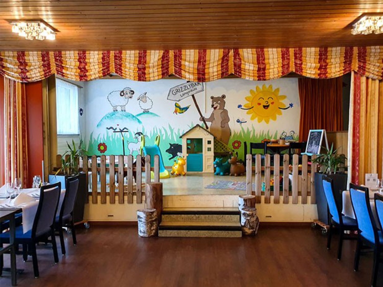 Children's play corner with painted wall