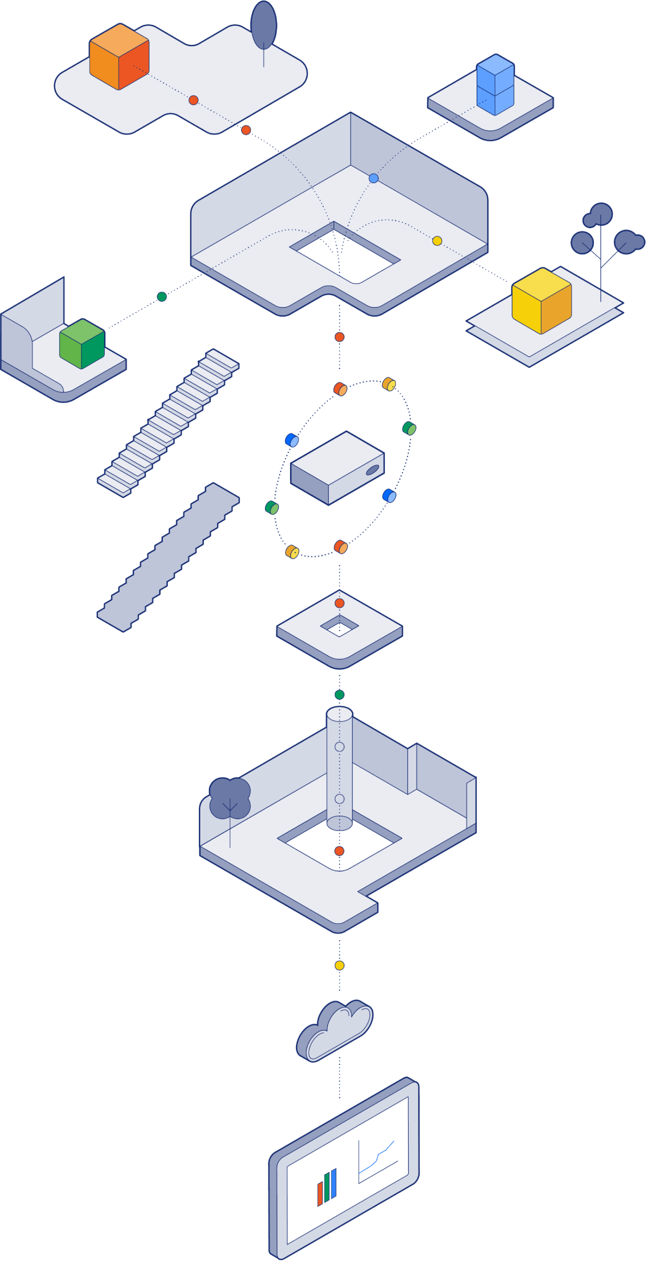 An illustration of a building with equipment and sensors