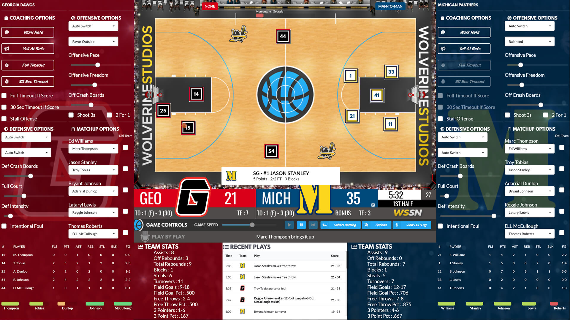 college basketball game play