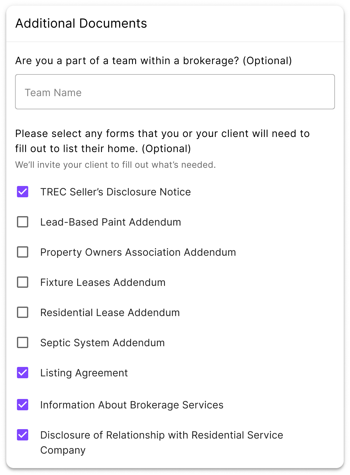 select additional documents for listing