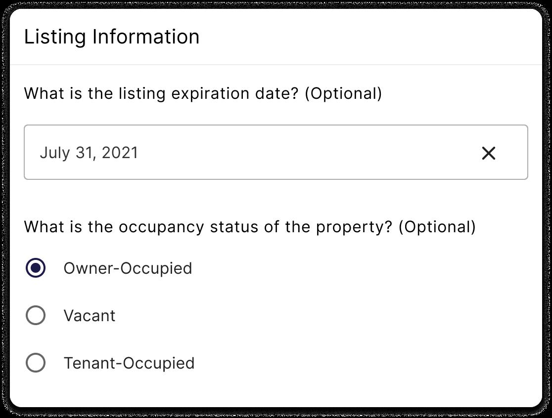 listing information form