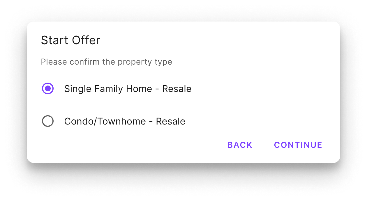 confirm the property type in the jointly offer management platform