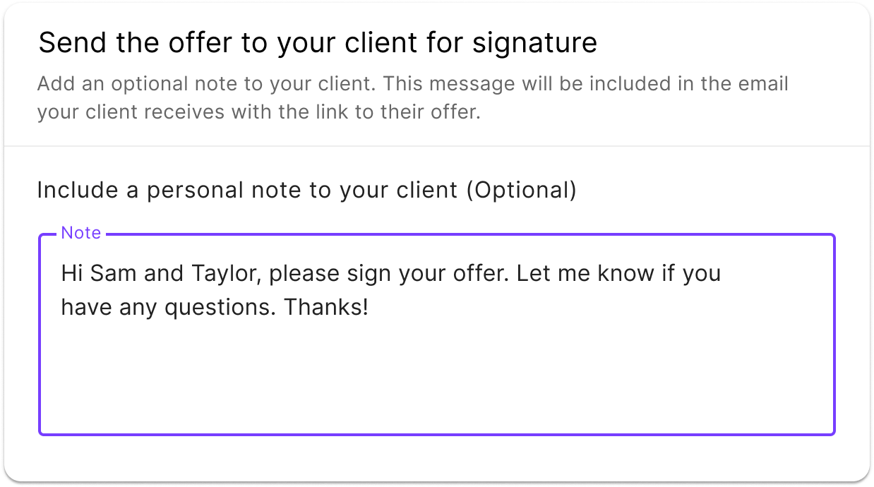 sending the offer to your client in the jointly offer management platform