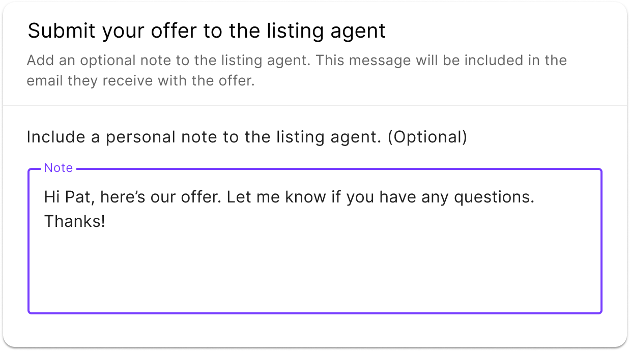 submitting the offer to the listing agent in the jointly offer management platform