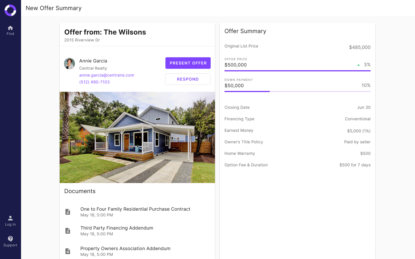 listing agent new offer summary page in the jointly offer management platform