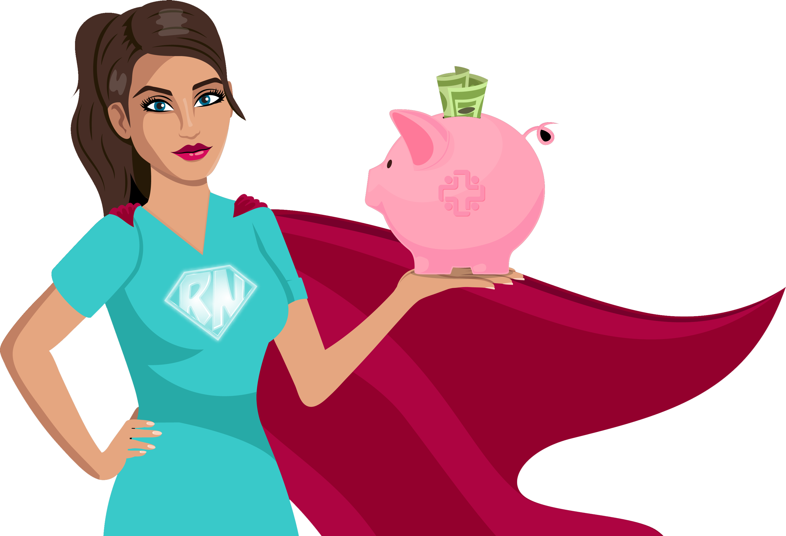 A super nurse holding a piggy bank