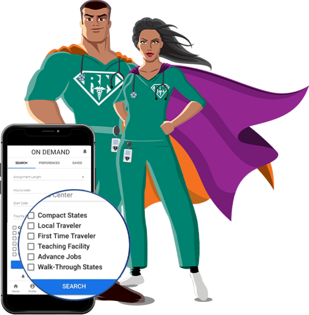 Illustration of super doctor and nurse standing with a phone