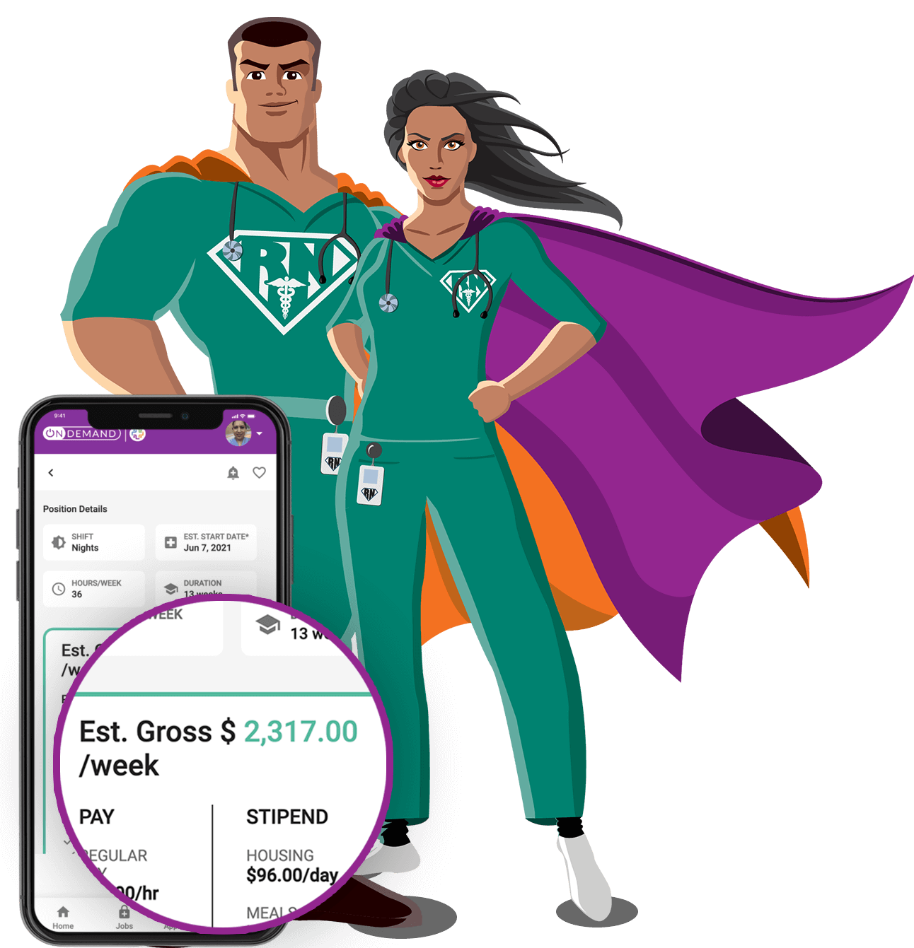 Two super hero nurses standing with a smartphone and zoomed in shot of the weekly salary.