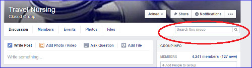 Search Travel Nursing Facebook Group