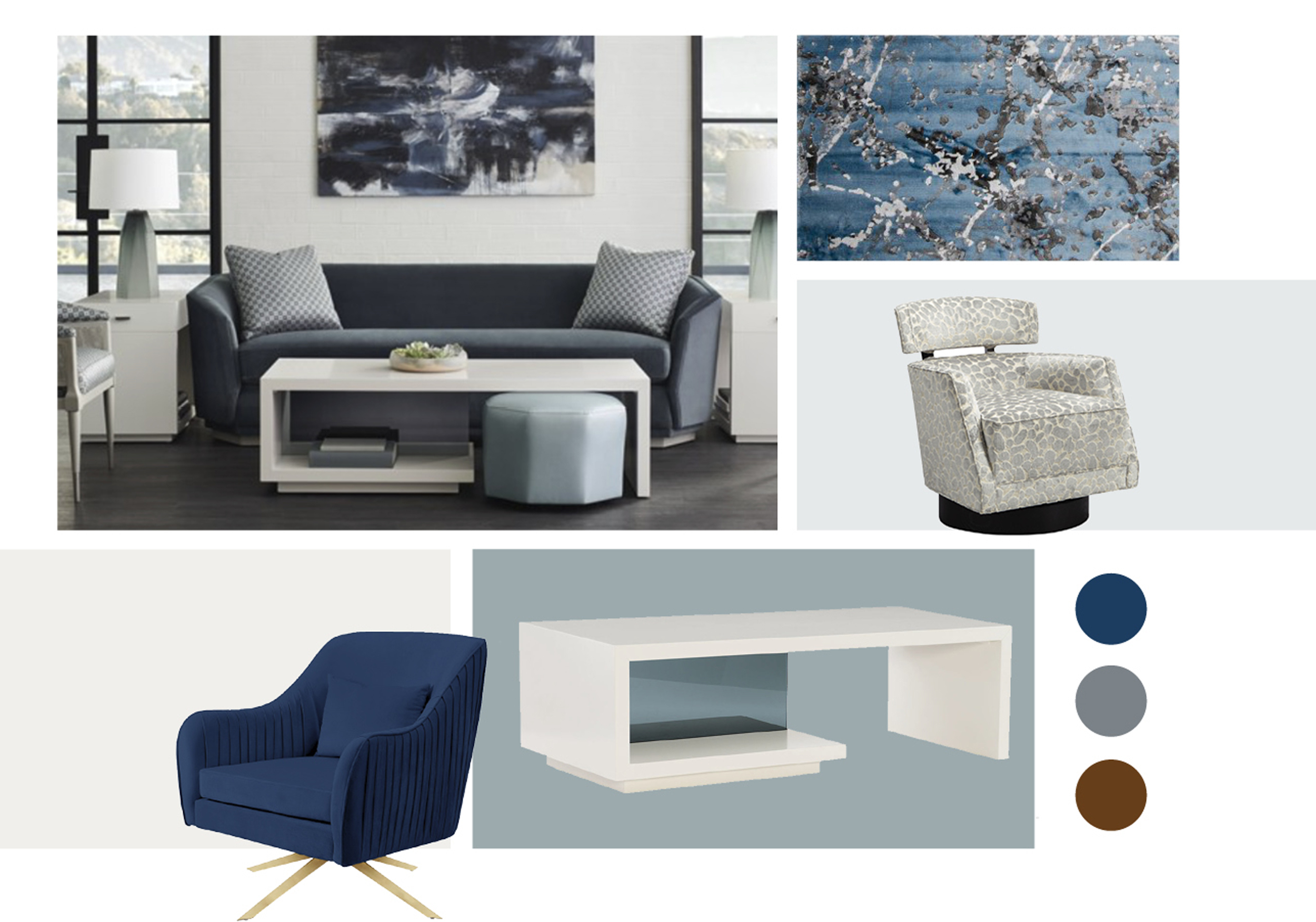 A collection of design items including rug, couch, coffee table, color palettes and accent items