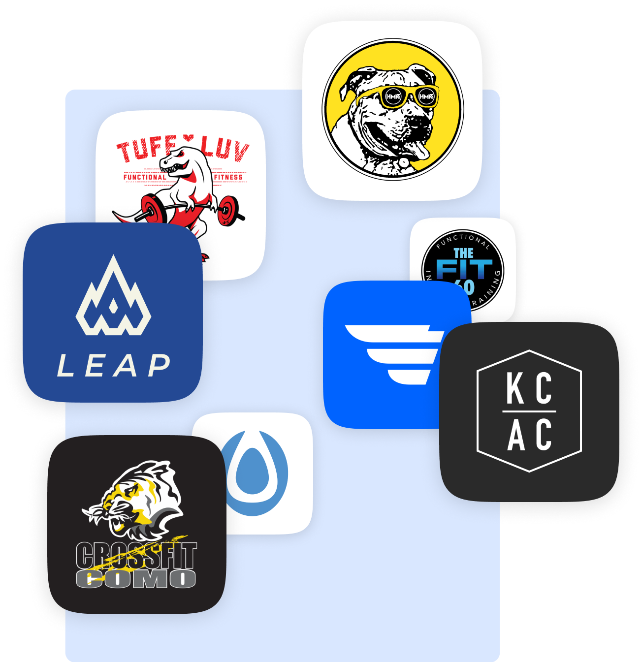 Logos of the best gym branded app clients
