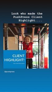 pushpress instagram story for trinity fitness
