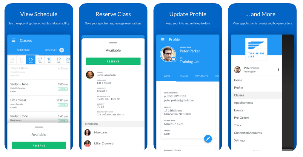 Gym management software member app screens