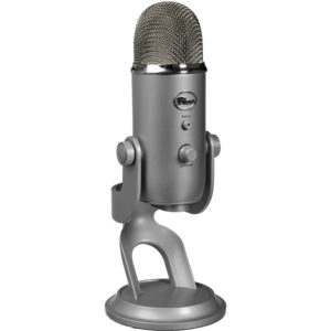 Yeti Blue condenser microphone for gym or studio podcast