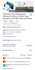 the PushPress google my business listing for our gym management software system